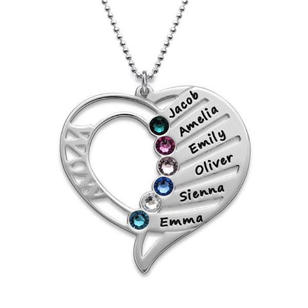Personalized 2-Hearts Picture Necklace Sterling Silver